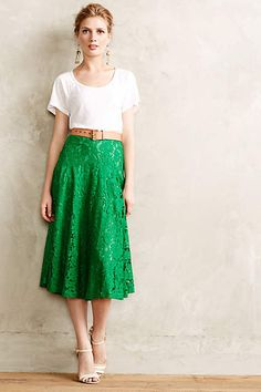 Grass-Lace Midi Skirt - anthropologie.com