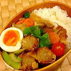 揚げシュウマイ、セロリの塩炒め、ゆで卵。 - 39件のもぐもぐ - 中華丼弁当 by masako522