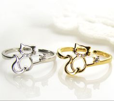 Womens Kitty Cat Ring Crystal Animal Ring Kitten Gold Silver Plated gift idea