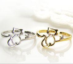 Womens Kitty Cat Ring Crystal Animal Ring Kitten