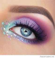Purple and blue eye makeup style