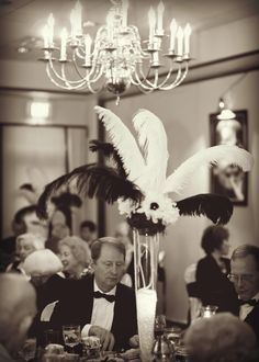 Love The Feathers For Decorating Adding Lush Theming To Hollywood Themed Party Took Photos In Black And White Old Glam