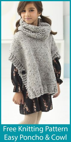Free Knitting Pattern for Easy Quick Poncho and Cowl for Adult and Child Sizes Baby Boy Knitting Patterns, Crochet Poncho Patterns, Knitted Poncho, Knitting For Kids, Free Knitting, Crochet Shawl, Crochet Vests, Crochet Cape, Shawl Patterns