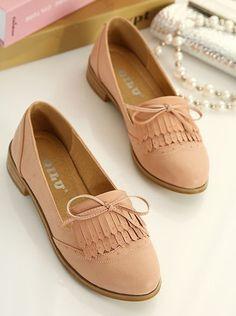 Real shot fashion shoes 2013 autumn new Korean bow tassel retro round flat heel shoes shoes Peas-ZZKKO ($14.00) - Svpply