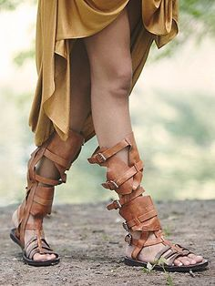 *Isla Fest Sandal - Knee high leather gladiators with five buckles...