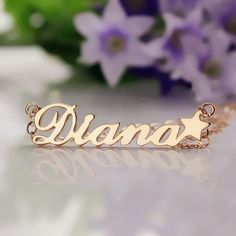 Solid Rose Gold Carrie Style Name Necklace with Star Personalized 10k Rose Gold Nameplate Pendant Star Name Jewelry-1337