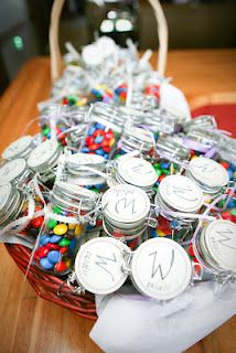 DIY party favors fill with various candies- cute idea using Mason jars.