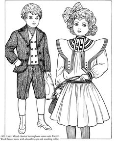 Old-Time Children's Fashions Coloring Book from Dover Publications