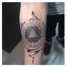 40 Small Detailed Tattoos For Men - Cool Complex Design Ideas - Tattoo Viking Warrior Tattoos, Viking Rune Tattoo, Norse Tattoo, Viking Tattoo Design, Celtic Tattoos, Badass Tattoos, Body Art Tattoos, Sleeve Tattoos, Norwegian Tattoo