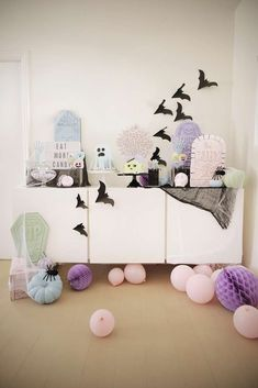 Loving the dessert table at this spook pastel Halloween Party! The decor is fantastic!! See more party ideas and share yours at CatchMyParty.com #halloween #partydecorations