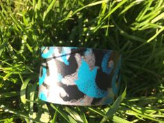 Black Leather Handpainted Turquoise and by HippieChicHealing, $37.00
