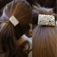Sheegior moda elegante completa Shinning cristal praça Elastic hairbands cabelo das mulheres jóias grátis frete