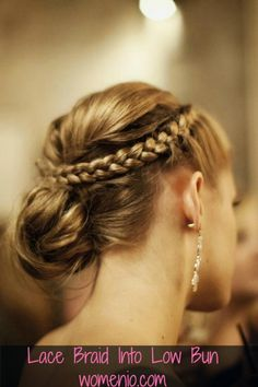Elegant Haristyle – Beautiful Lace Braid Into Low Bun