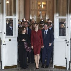 Queen Letizia of Spain (C) and Spanish Vice President Soraya Saenz de Santamaria (R) visit the Royal Palace on February 10, 2016 in Madrid, Spain.