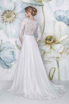 CAYENNE -  SADONI Bridal 2018 - Delicate lace back with flowy satin chiffon skirt, available in nude or all creme - www.sadoni.no