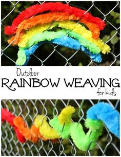 Simple Kids Activities: Outdoor Rainbow Weaving for Kids! An easy fine motor craft for preschool kids! Great for backyard fun or summer camp ideas! Outside Activities, Outdoor Activities For Kids, Creative Activities, Family Activities, Toddler Activities, Outdoor Learning, Outdoor Games, Outdoor Play, Outdoor Ideas