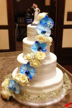 white rose and blue orchid cake - Google Search