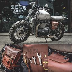 Triumph Mad-Max Scrambler with Side Box Packer by Zeus #Zeuscustom #bag #leather #triumph #triumphbonneville #triumphscrambler #scrambler #madmaxproject