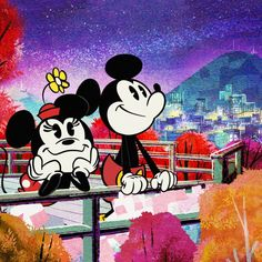 Nothing like the city at night. 🌃 Who lights up your life? Mickey Mouse Shorts, New Mickey Mouse, Disney Mickey Mouse, Minnie Mouse Pictures, Walt Disney Pictures, Mickey Love, Mickey And Friends, Mickey Mouse Wallpaper, Disney Wallpaper