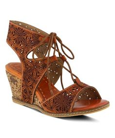 This fancy French-inspired ghillie sandal knows how to impress with a lace-up design and floral laser etching and cutouts. From Spring Step. Gladiator Sandals, Women's Shoes Sandals, Wedge Sandals, Leather Sandals, Dsw Shoes, Spring Step Shoes, Painting Leather, Sock Shoes, Lace Up Shoes