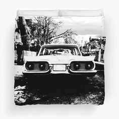 Ford Thunderbird 1958 by David Tokio Ford Thunderbird, College Dorm Bedding, Duvet Insert, Duvet Covers, David, Black And White, Black N White, Black White