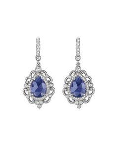 Y2PT6 Penny Preville Blue Sapphire Scroll Earrings
