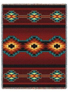 SOUTHWEST INDIAN WESTERN DESIGN RED TAPESTRY THROW AFGHAN BLANKET