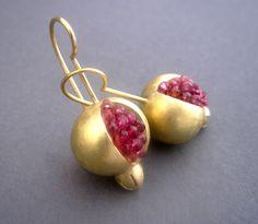 Pomegranate Earrings - Gold Tourmaline Ruby.