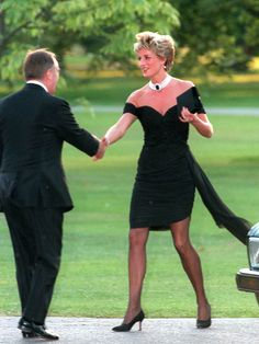 Diana, Princess of Wales in the LBD she wore the day Prince Charles was on TV professing his love for Camilla.  Good Housekeeping has listed it as one of the 100 Most Memorable Dresses of All Time.