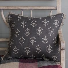 Susie Watson, Indian Block Print, Printed Cushions, Window Dressings, Velvet Cushions, Cushion Pads, Charcoal Color, Moonflower, Feather