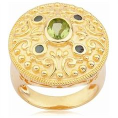 18k Gold Over Sterling Silver Peridot and Emerald Renaissance Ring