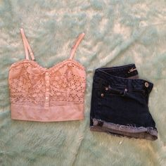 Taupe Crochet American Eagle Top Very cute crop top. Adjustable straps. Beaded tie and buttons add an adorable detail. American Eagle Outfitters Tops