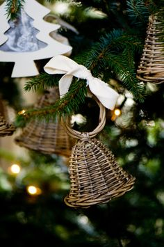 Rustic Rattan Christmas Bell S