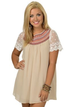 Umgee Women's Taupe with Embroidered Yoke Short Sleeve Dress | Cavender's