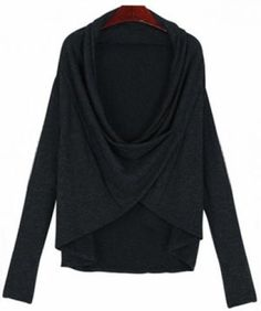 Black Draped Neck Long Sleeve Knit Sweater pictures