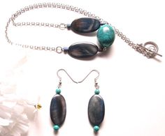 Turquoise and Mother of Pearl Necklace and Earring by StringOfLuck