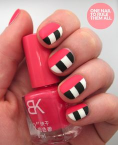 Cute! A hot Pink polish paired with black and with stripes! Perff! Enjoy !
