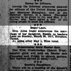 Segal-Leon wedding announcement Houston Post 28 March 1917 pg 9