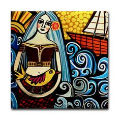 Mermaid Art Tile - Fantasy Fish - Mexican Folk Art Ceramic Coaster Gift 4x4