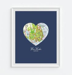 Bar Harbor Maine Heart Vintage Map ART PRINT Bar by droppedpinshop