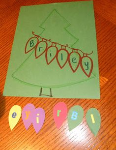 letter recognition--From The Hive: more preschool Christmas games do a big tree and have strands of lights with kids names on them Preschool Christmas Games, Preschool Names, Holiday Activities, Christmas Themes, Kids Christmas, Preschool Activities, Holiday Crafts, Christmas Ornaments, Christmas Lights