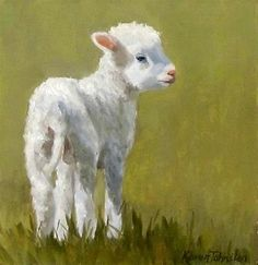 "Daily Paintworks - ""Marys Lamb"" - Original Fine Art for Sale - © Karen Johnston"