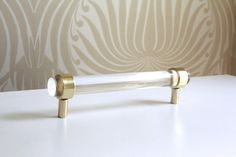 """3/4"""" Dia. Polished or Satin Brass Drawer Pulls - Lucite Cabinet Handles"""