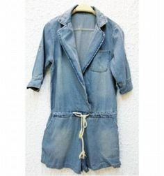 Amazon.co.jp: ウエスト紐結び デニムサロペットシャツ レディースファッション: 服&ファッション小物通販