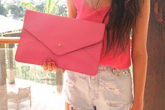 Bright envelope clutches.