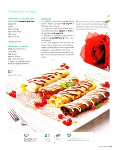 Crepes Branco e Negro Crepes, Good Food, Yummy Food, Hot Dog Buns, Deserts, Food And Drink, Cooking Recipes, Pasta, Recipies