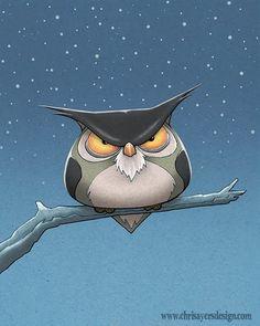 disgruntled owl. chrisayersdesign.com