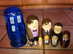 Doctor Who nesting dolls, by Molly Lewis. Everyone into the TARDIS!