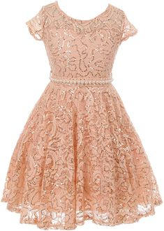 8944cdec144 BNY Corner Little Girl Cap Sleeve Floral Lace Glitter Pearl Holiday Party Flower  Girl Dress Blush 6 JKS 2102 -in Rose