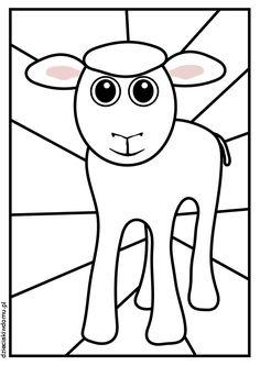baranek witraz - kolorowanka dla dzieci / Lamb - coloring page for kids Sunday School Crafts, Religion, Religious Education